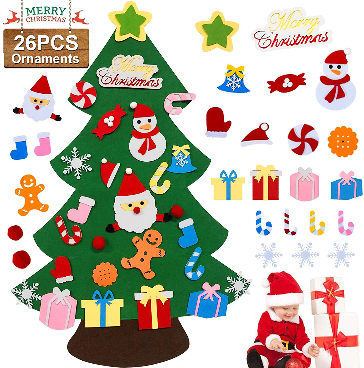 Lnkoo Felt Christmas Tree Set Diy 3 2ft With 26 Ornaments Xmas Decoration Home Wall Hanging Children S Felt Craft Kits Party Supplies Gifts For Kids Toddlers Walmart Com Walmart Com