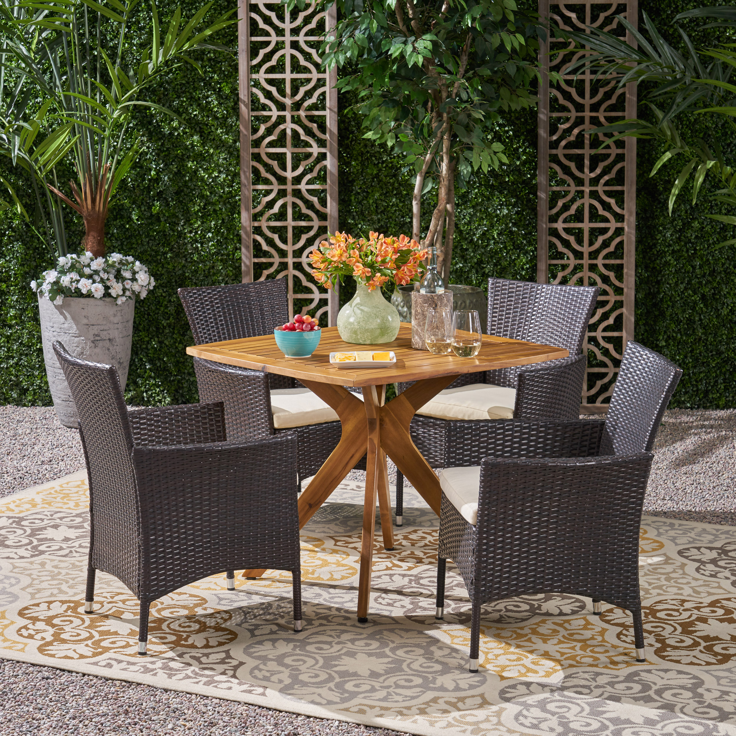 Dario Outdoor 5 Piece Wood and Wicker Dining Set, Teak, Multi Brown, Beige