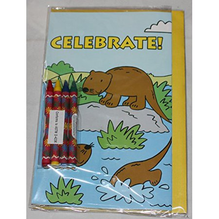 Paper Craft Childrens Color-Me-In Birthday Card, Celebrate Beaver Frogs Ducks (Childrens Halloween Birthday Games)