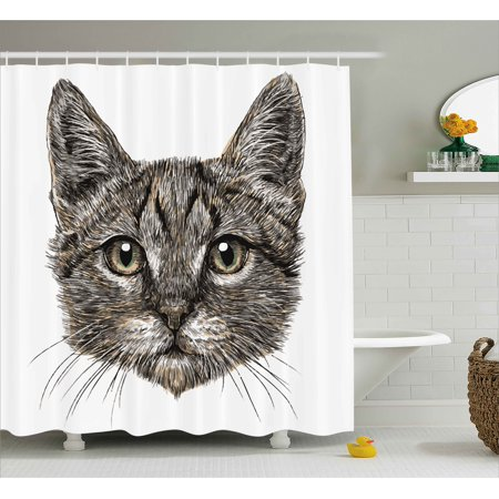 Animal Decor Shower Curtain, Cute Little Chubby Cat Head Looking Innocently with Long Whiskers Sketchy Like Art, Fabric Bathroom Set with Hooks, 69W X 84L Inches Extra Long, Grey, by Ambesonne - Cute Chubby Teen