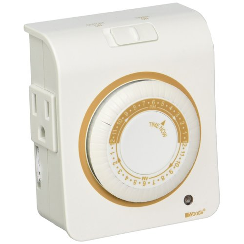 Woods 50021 24-Hour Mechanical Programmable Timer, 2-Outlet by Woods