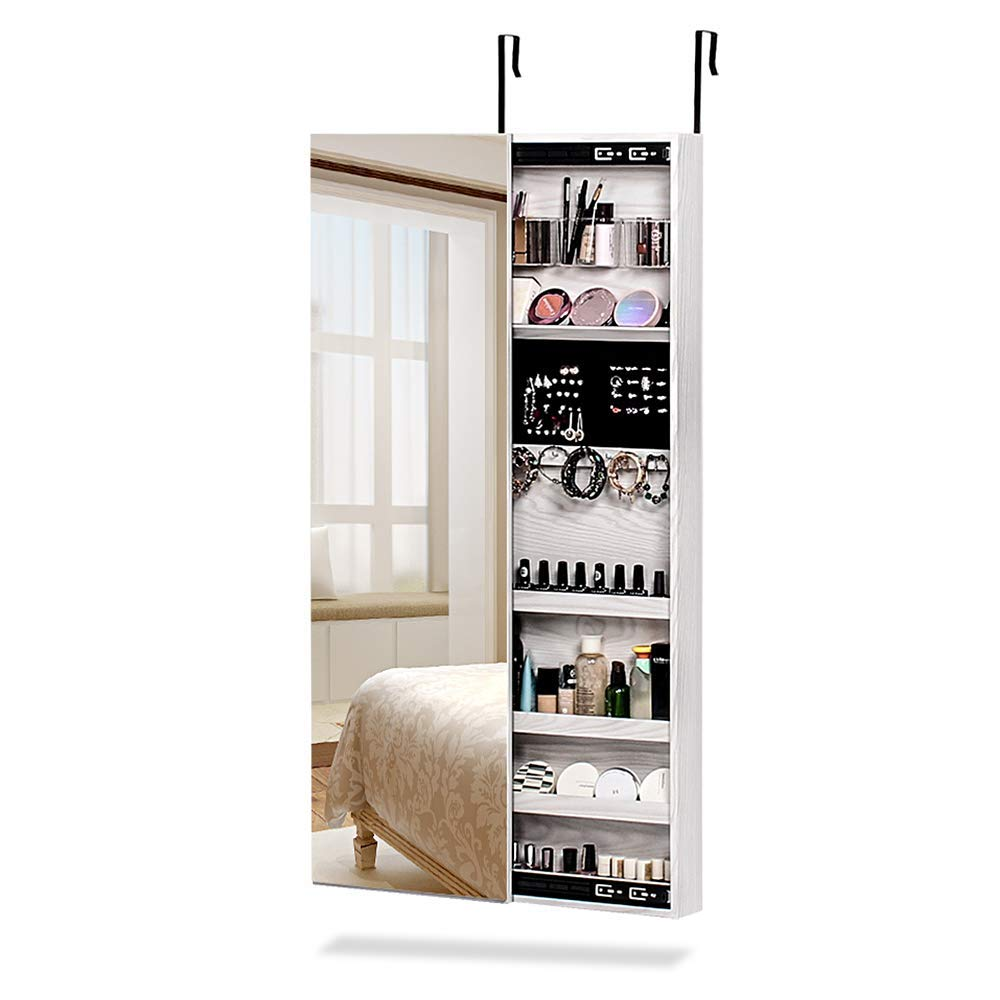 Attirant NEX Door Mounted Jewelry Armoire Makeup Storage Organizer With Real Glass  Mirror  White Color (NX D018)