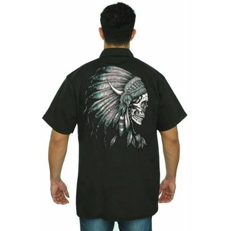 Mens Mechanic Work Shirt Native American Chief Skull