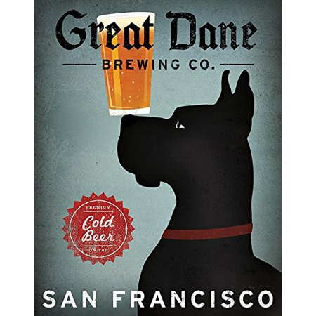 Black Great Dane Brewing Co San Francisco by Ryan Fowler 14x11 Great Dane Beer Signs Dogs Animals Art Print Poster Vintage Advertising Sign Gentle Giant