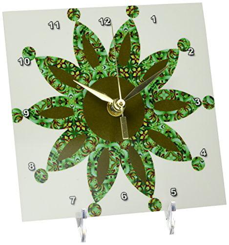 3dRose Green Moroccan Dot Point Flower, Desk Clock, 6 by 6-inch by 3dRose