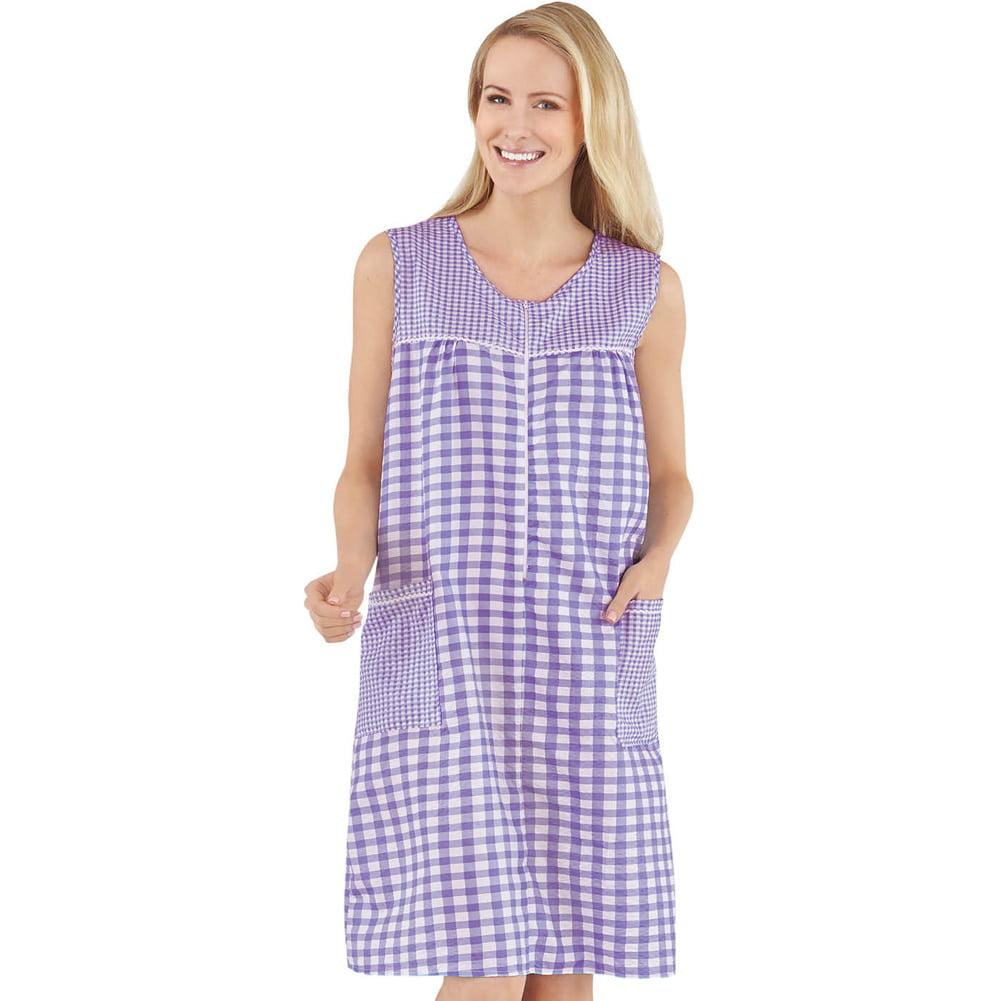 Women's Zip Front Sleeveless Pocket Dress, Xxx Large, Yellow