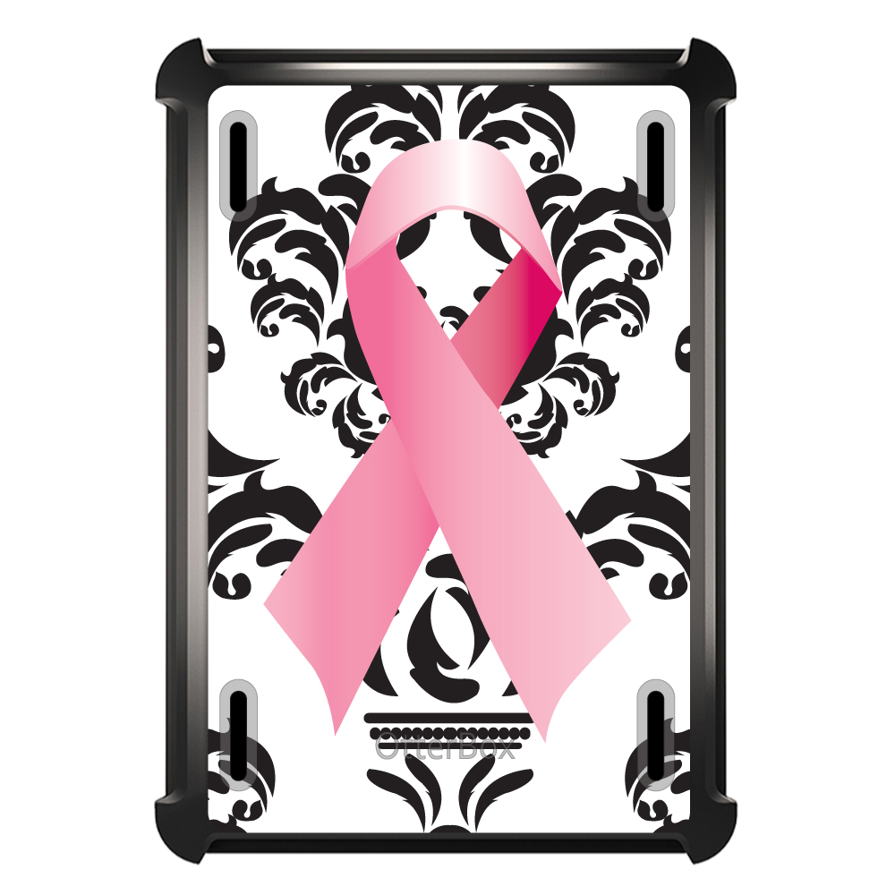 CUSTOM Black OtterBox Defender Series Case for Apple iPad Air 2 (2014 Model) - Black Damask Pink Ribbon