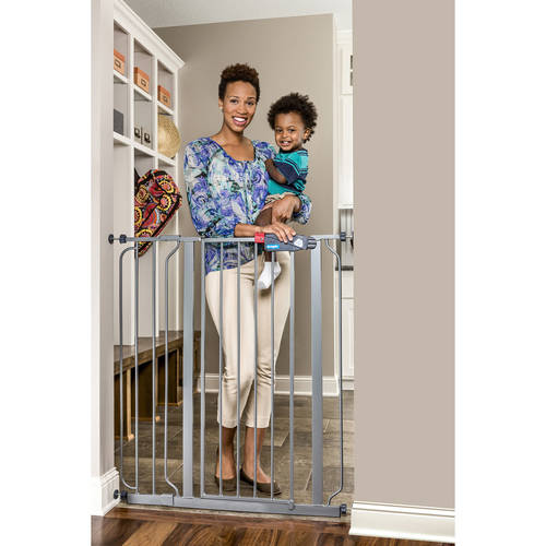 Regalo Deluxe Platinum Easy Step 41-Inch Extra Tall Walk Through Baby Gate, Pressure Mount with Included Extension Kit