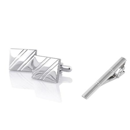 Ribbed Mens Cufflinks (Men's Silver Square Diagonal Ribbed Cufflinks + Silver Double Lines Brushed Tie)