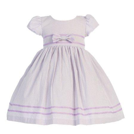 Lilac Stripe Short Sleeve Seersucker Easter Dress Girls -