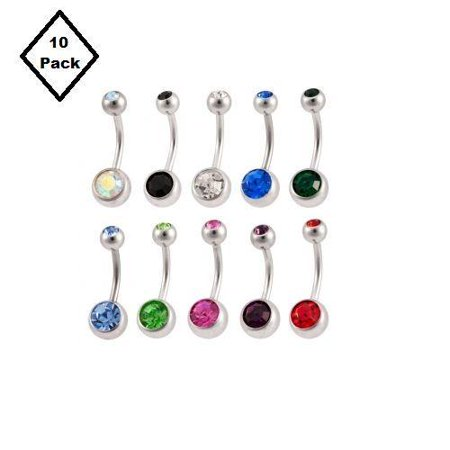 Belly Rings Lot Of 10 Double Jewel 14g 7 16