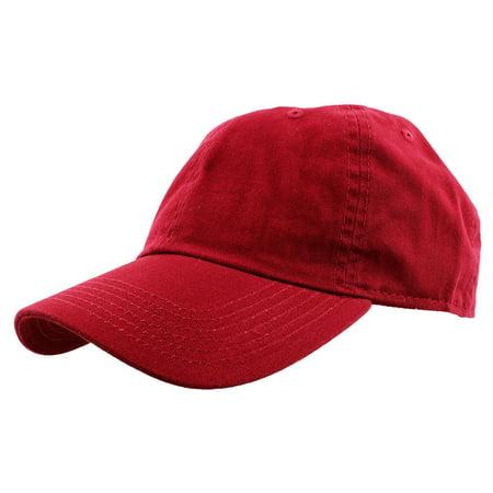 Falari Baseball Cap Hat 100% Cotton Adjustable Size Red