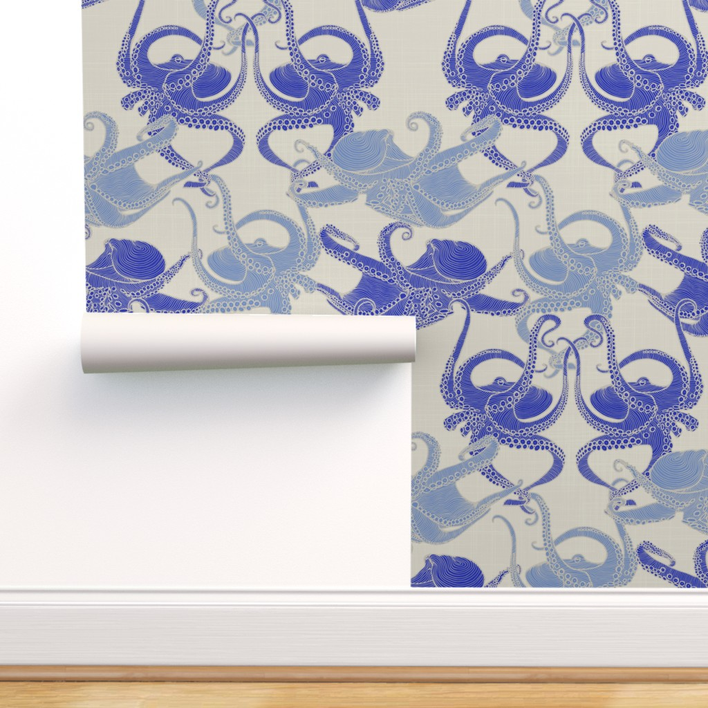 Peel And Stick Removable Wallpaper Octopus Nautical Blue Tentacles Nautilus Walmart Com Walmart Com