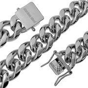 """Mens 18"""" Inch Choker Chain Stainless Steel 14MM Wide Cuban Link Heavy Hip Hop Necklace"""