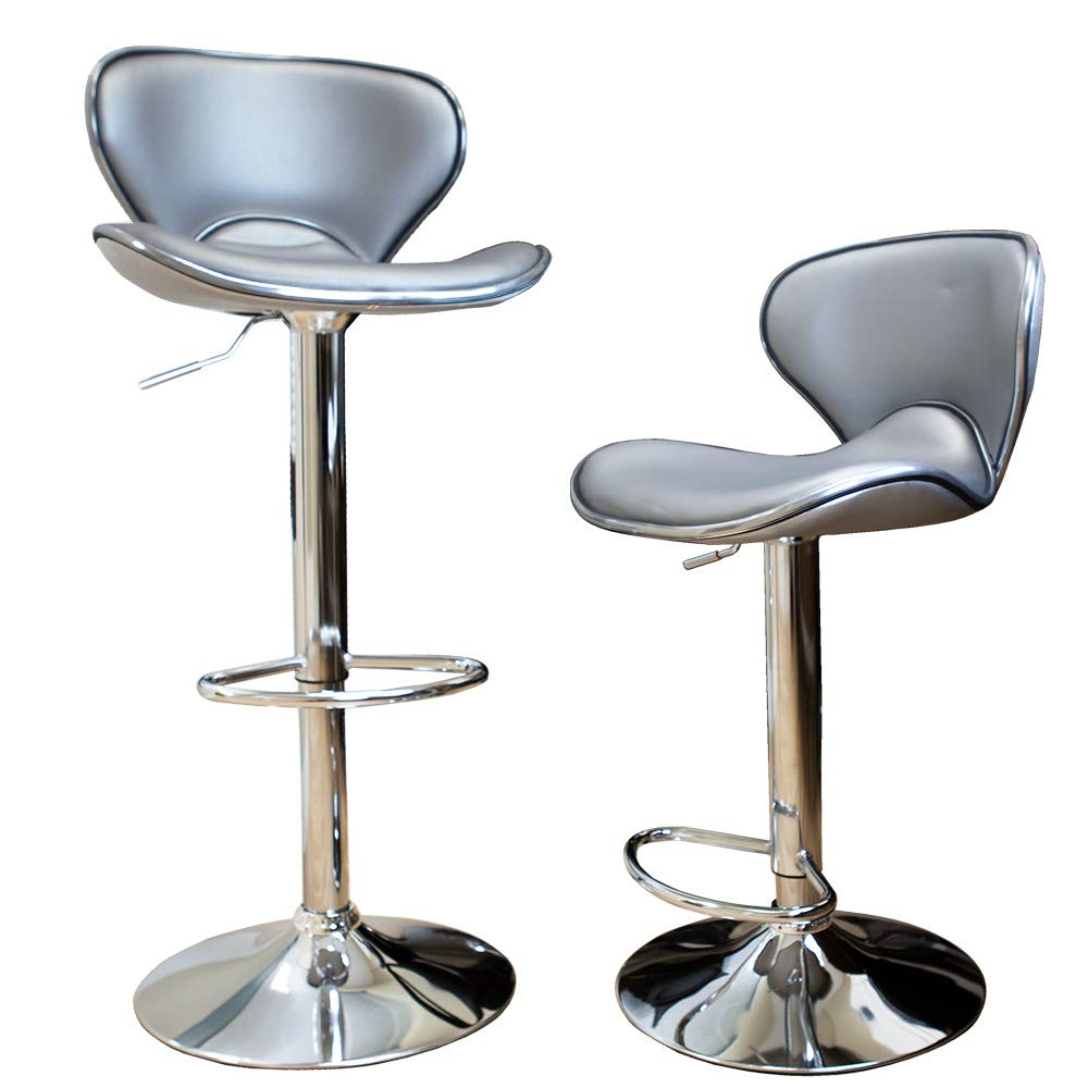 Angel Canada Modern Silver Curved Seat Set of 9 Bar Stool Height ...