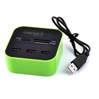 Multi 7 In 1 High-speed Laptop PC USB 2.0 HUB Portable Adapter Lime Green