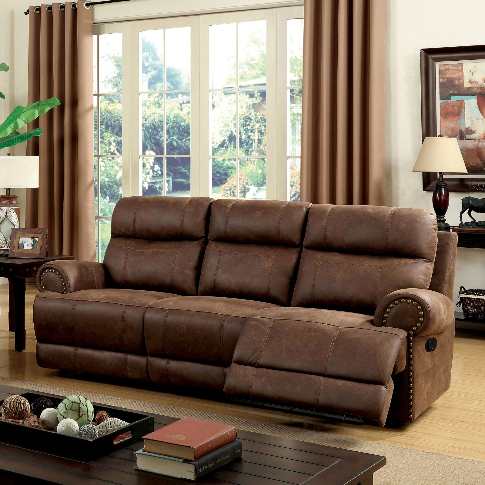 Furniture of America Lencho Transitional Style Plush Recliner Loveseat