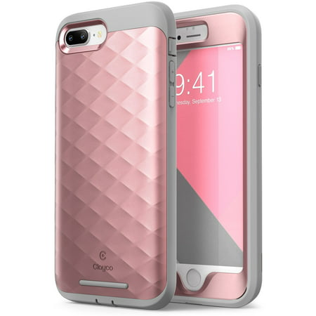 pretty nice c2926 2107f iPhone 8 Plus Case, iPhone 7 Plus Case, by Clayco [Hera Series] Full-body  Rugged Case with Built-in Screen Protector, RoseGold