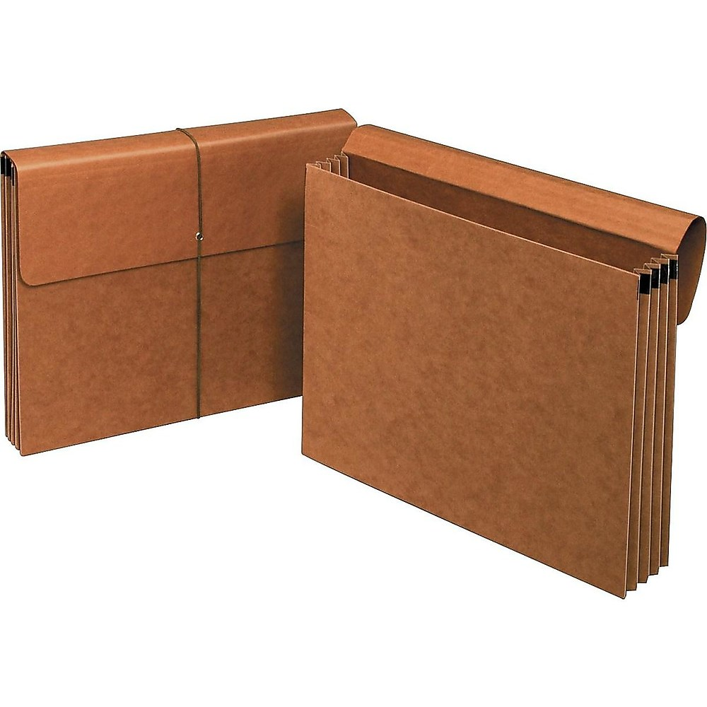 "418319 1526ES Staples File Pockets 3.5/"" Expansion Legal Size Brown 25//Box"