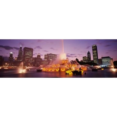 Fountain lit up at dusk in a city Chicago Cook County Illinois USA Canvas Art - Panoramic Images (18 x 6)