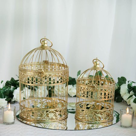 Efavormart 2 Sets Of Large Metallic Gold Bird Cage Wedding Centerpiece Table Party Decor All Occasions - 9