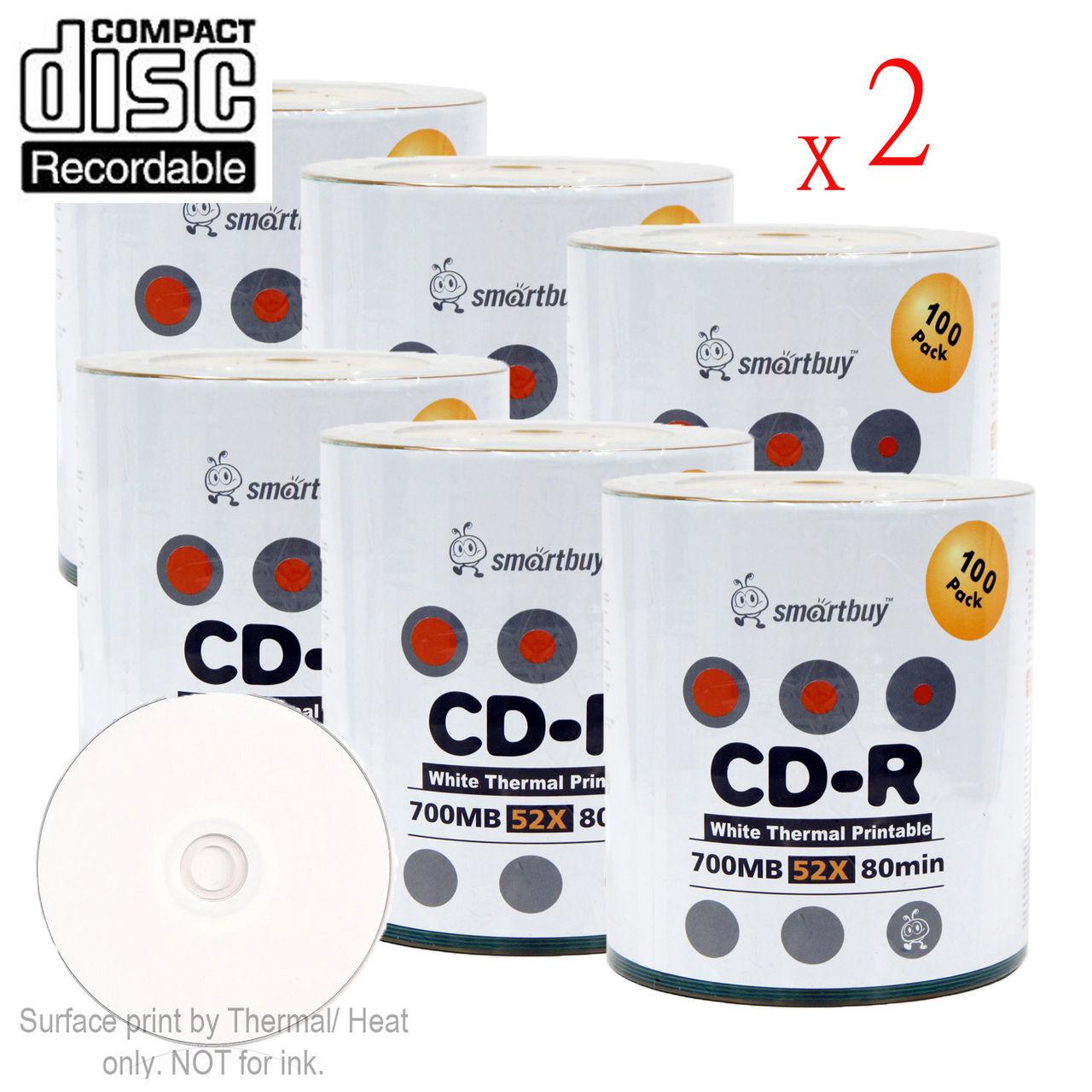 1200 Pack Smartbuy 52X CD-R 700MB 80Min White Thermal Hub...