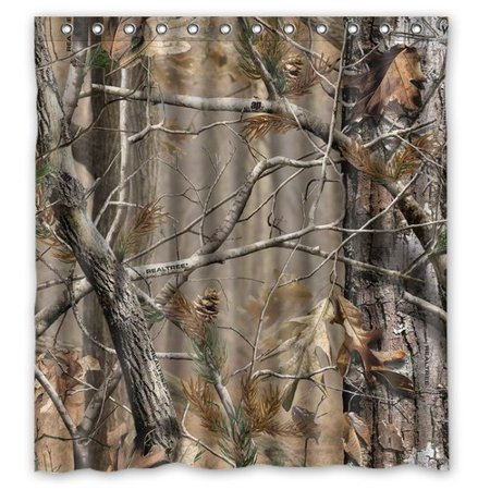 HelloDecor Camouflage Real Tree Shower Curtain Polyester Fabric Bathroom Decorative Curtain Size 66x72