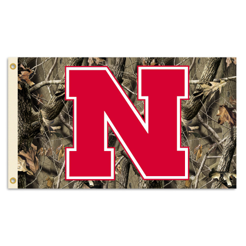 Bsi Products Inc Nebraska Cornhuskers Flag with Grommets - Realtree Camo Background Flag with Grommets
