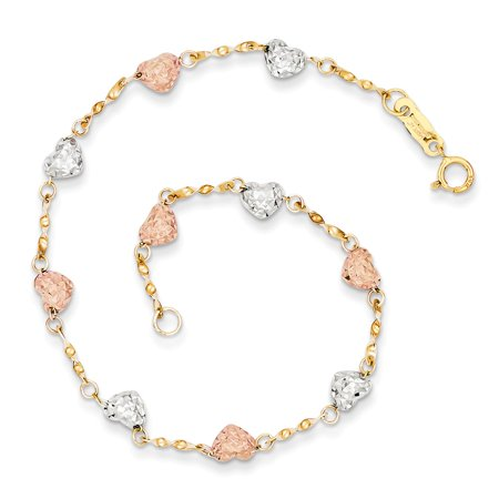 14k Tri Color Puff Heart Bracelet 7 Inch