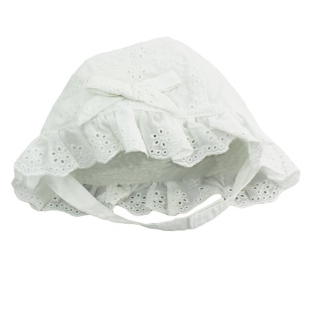 Little Me Baby Girls White Eyelet Sun Hat with Chin Strap- White - 3-9 Months