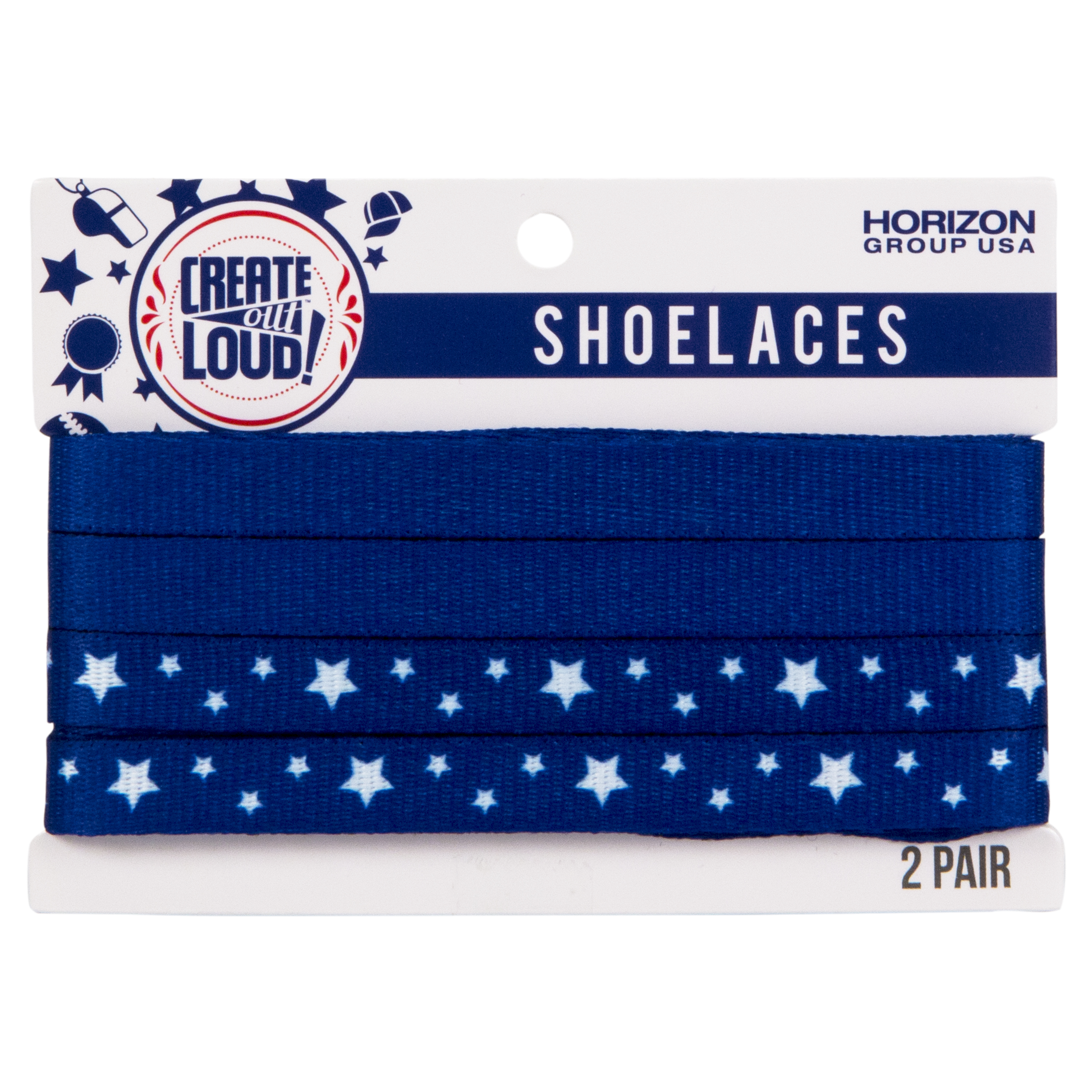 Image of Create Out Loud Shoelace Set in Blue & Blue/White Stars