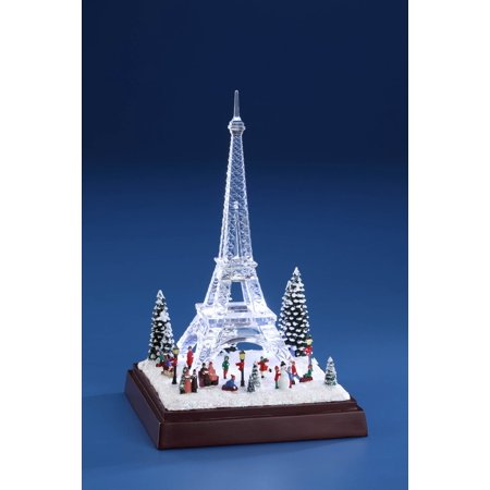 Pack of 2 White and Clear Winter Eiffel Towers with LED Light 8