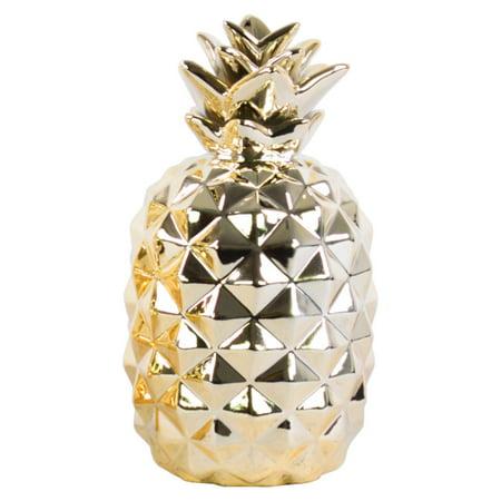 Urban trends collection: ceramic pineapple decor figurine, polished chrome finish,