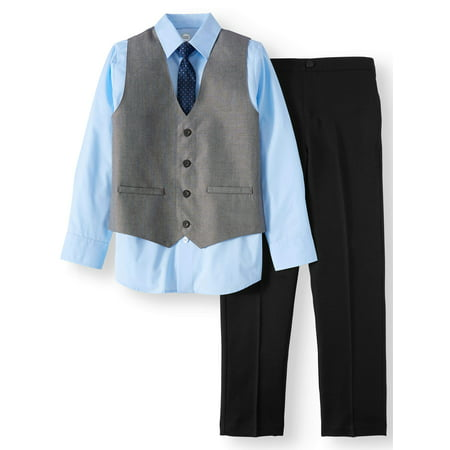 1920s Male Outfit (Boys' Dressy Set With Sharkskin Vest, Blue Dress Shirt, Skinny Tie and Black Pull-On Pants, 4-Piece Outfit)