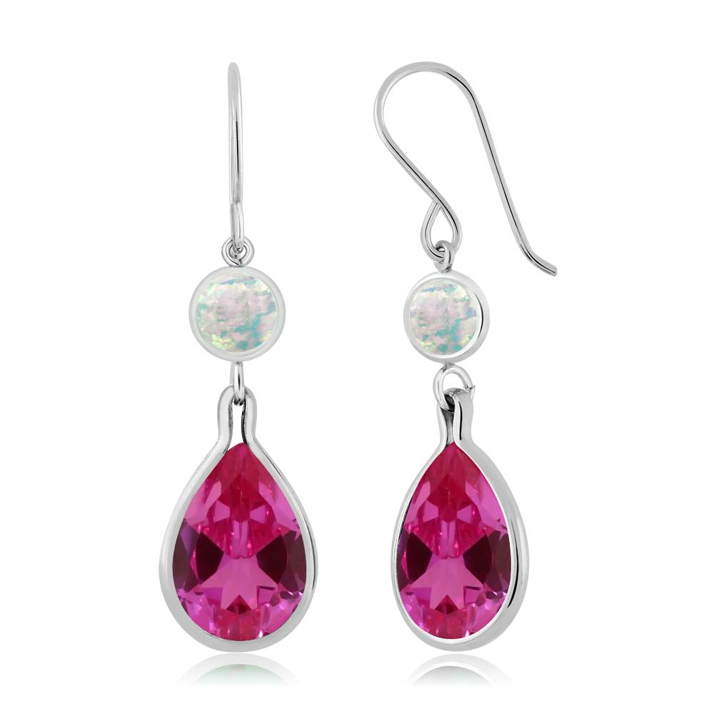 12.00 Ct Pear Shape Pink Created Sapphire and Simulated Opal 925 Silver Earrings by