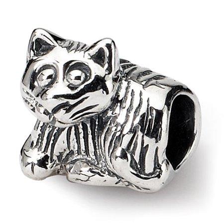 Sterling Silver Polished Antique finish Reflections SimStars Kids Kitten Bead Charm