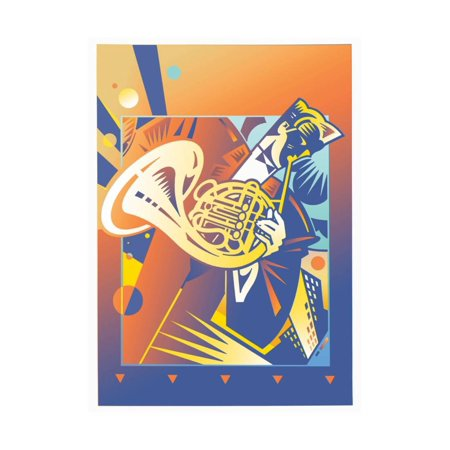 - Musician Playing on French Horn Print Wall Art By David Chestnutt