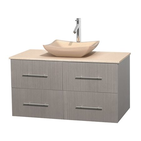 Wyndham Collection Centra 42 inch Single Bathroom Vanity in Gray Oak, White Carrera Marble Countertop, Pyra Bone Porcelain Sink, and No