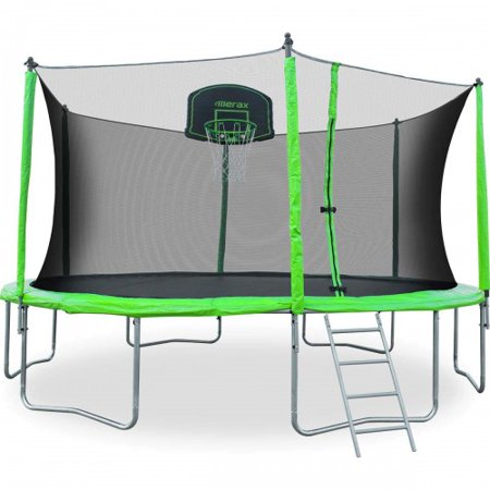 CLEARANCE! Trampoline for Kids, 2019 Upgraded 12ft Trampoline with Backboard Enclosure Net, Safety Spring Cover Padding, Basketball Hoop & Ladder, Outdoor Activity for Kids and Parents, S11624