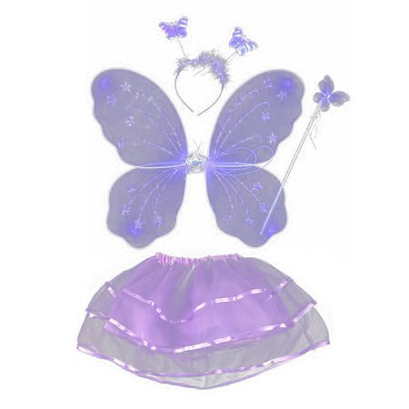 Sweetmile Kids Baby Girls Fairy Costume Headband Butterfly Wings Wand Tutu Skirt 4PCS Set