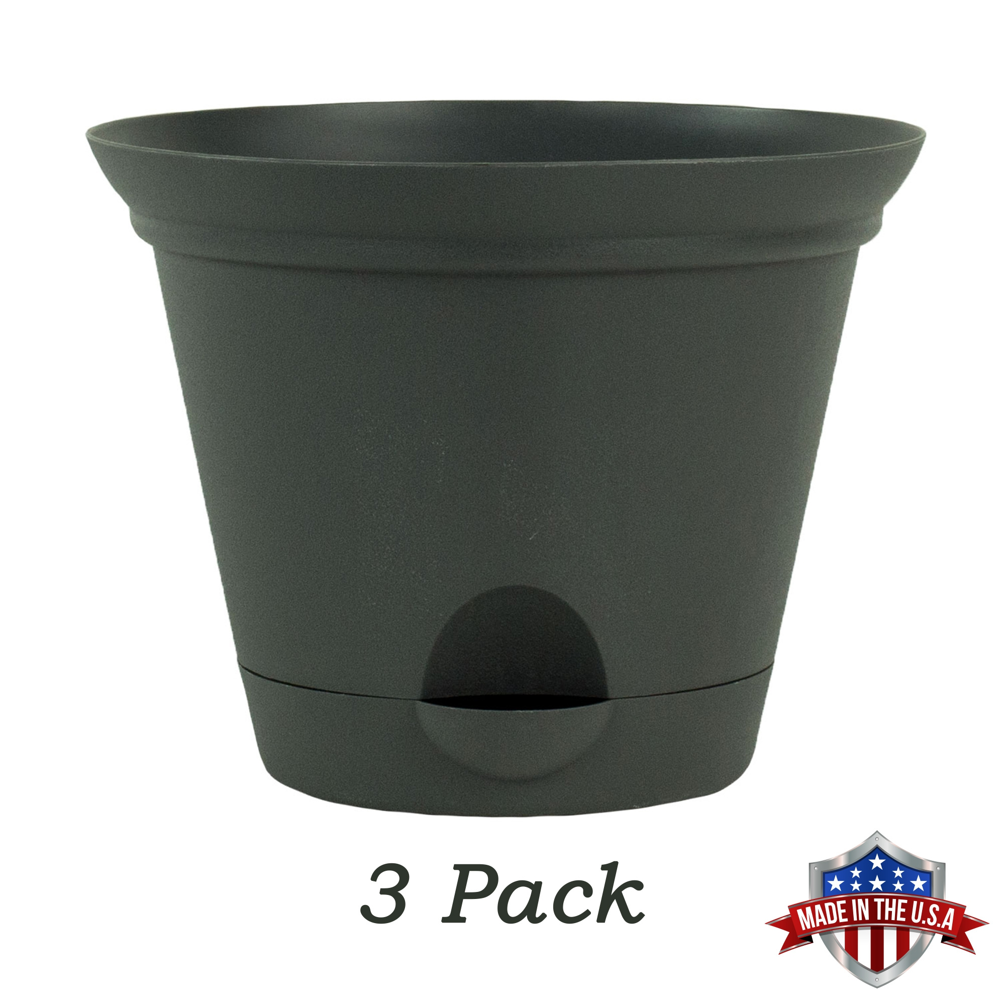 3 Pack 9.5 Inch Flat Gray Plastic Self Watering Flare Flower Pot or Garden Planter