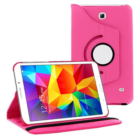 new product 6d44e fad6b Galaxy Tab 4 7.0 case by KIQ PU 360 Rotating Leather Stand Case Folio Flip  Cover For Samsung Galaxy Tab 4 7.0 SM-T230 (Hot Pink)
