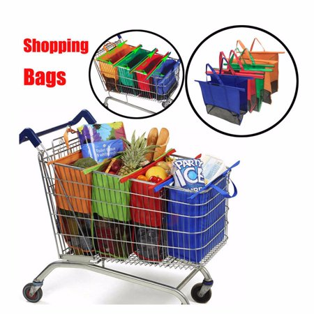 b4984ad8a Jeobest 4PCS Reusable Trolley Grocery Bags - Trolley Bags for Shopping Cart  - Reusable Shopping Cart
