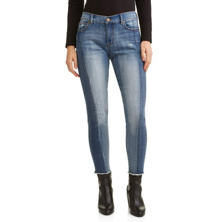 Women's Color Blocked Jean with Raw Edge (Raw Edge Hem)