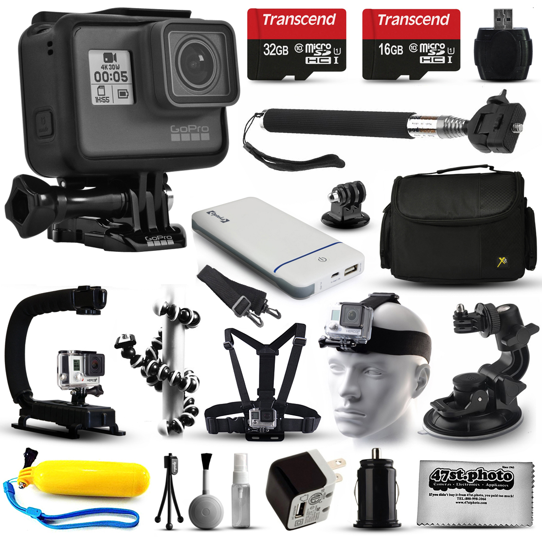GoPro HERO6 Session HD Action Camera (CHDHS-601) with 32GB Card + Case + Floating Handle + Flexible Tripod + Head/Chest Strap + Car Mount + Opteka X-Grip + LED Light + Wrist Glove + Car Charger