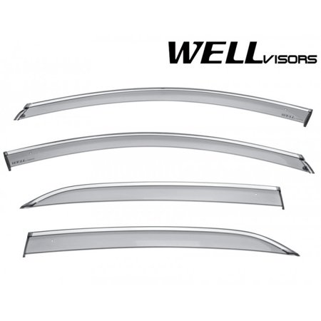 WellVisors Replacement for 2018-Present Chevrolet Equinox CHROME TRIM Smoke Tinted Side Rain Guard Window Visors Deflectors 3-847CH020