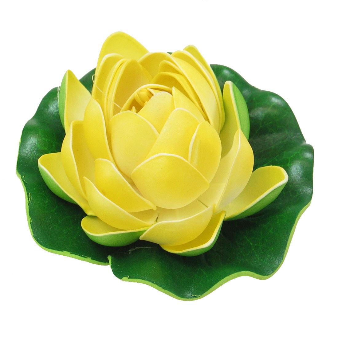 Unique Bargains Floating Foam Lotus Yellow Ornament for Fish Aquarium