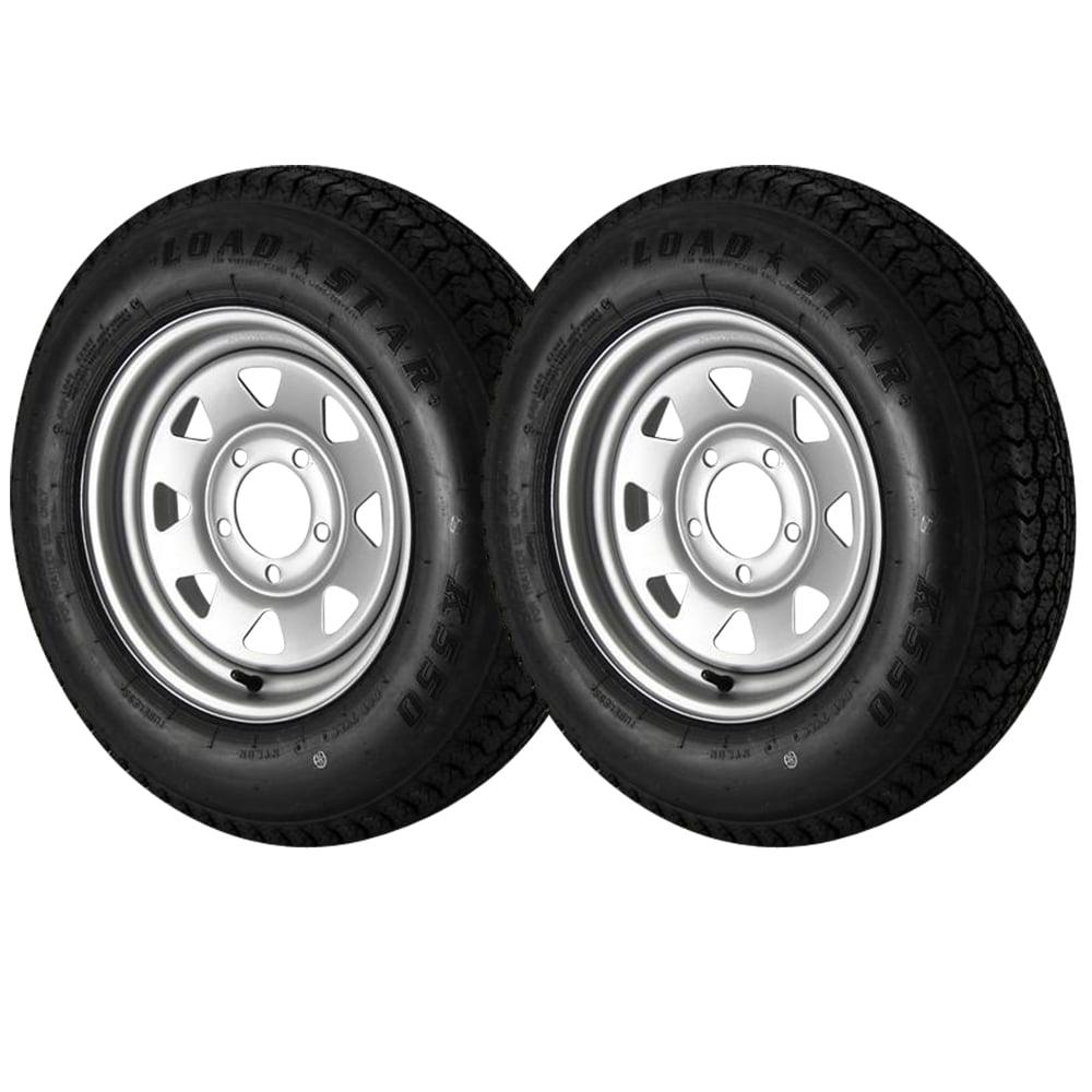 2 Pack - ST175/80D13 Loadstar Trailer Tire LRC on 5 Bolt Silver Spoke Wheel