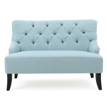Nicoletta Contemporary Tufted Fabric Settee, Light Teal and Dark Brown