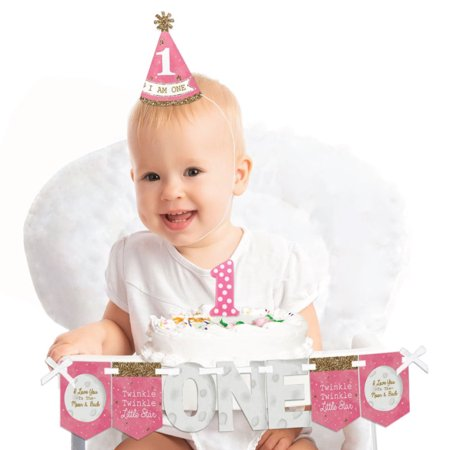 Pink Twinkle Twinkle Little Star 1st Birthday - First Birthday Girl Smash Cake Decorating Kit - High Chair Decorations
